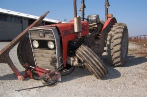 Damaged Heavy equipment, farm tractor